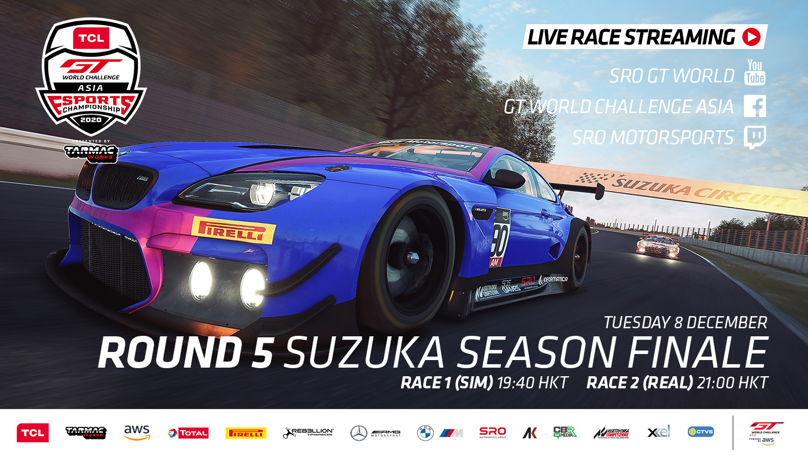 Stage set for TCL GT World Challenge Asia Esports Presented by Tarmac Works showdown at Suzuka